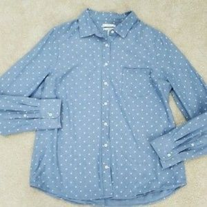 J.Crew Blue White Polka Dot Button Front